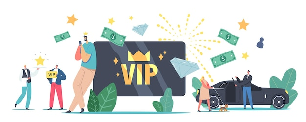 Vip card, celebrity persons lifestyle concept. luxury characters with gold cards get premium service, woman with dog enter limousine, waiter carry star on tray. cartoon people vector illustration