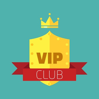 Vip club insignia or emblem in flat style. vip club members only