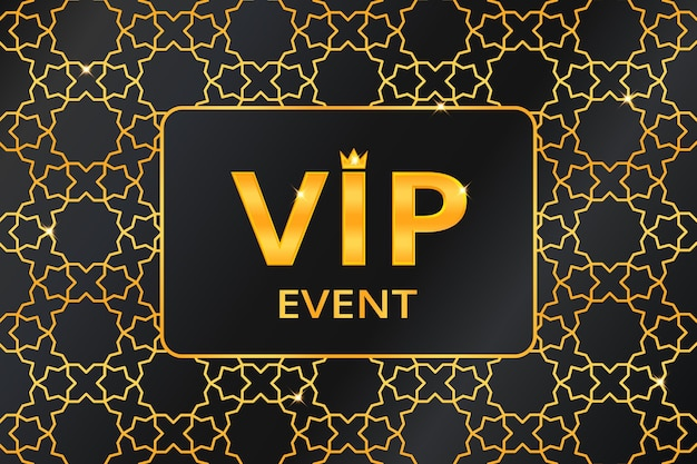 Vip event background with gold text with crown on golden arabic pattern. premium and luxury banner or invitation template design. vector illustration.