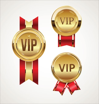 Vip golden badges on black
