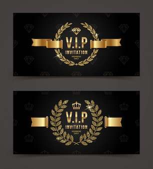 Vip golden invitation template - type  with crown, laurel wreath and ribbon on a black pattern background.  illustration.