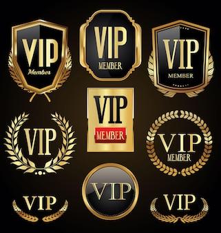 Vip коллекция золотых лавровых венков, значков и щитов