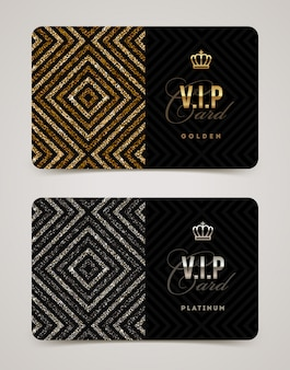 Vip golden and platinum card template.  illustration.