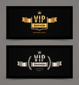 Vip golden and silver invitation template.  illustration.