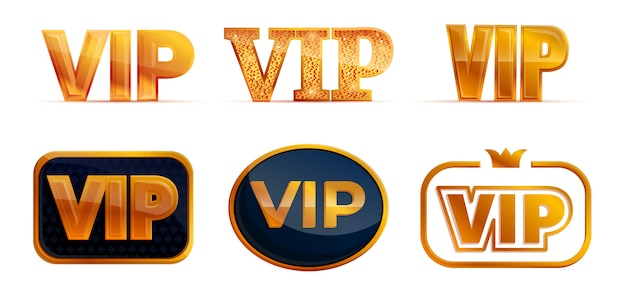 Vip icons set, cartoon style