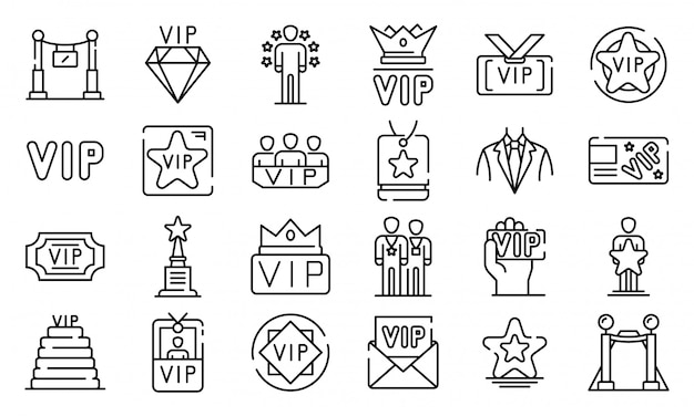 Vip icons set, outline style