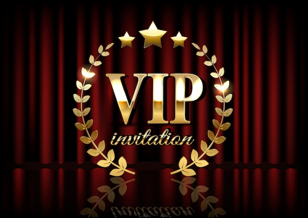 Vip invitation card with theater curtains on the