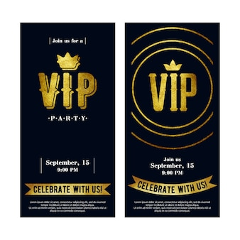 Vip invitation cards with golden paint letters.
