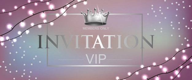Vip invitation lettering with crown and garlands