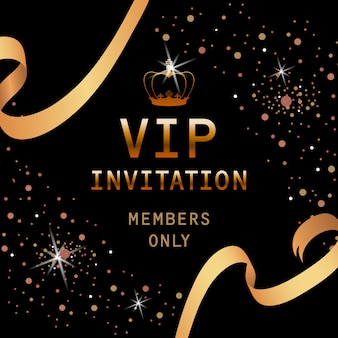 Vip invitation lettering with golden crown and ribbons