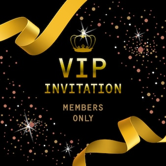 VIP invitation lettering with golden ribbons and crown