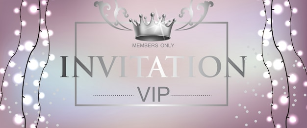 Vip invitation lettering with light garland