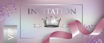 VIP invitation lettering with ribbon and crown