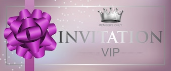 VIP invitation lettering with ribbon bow and crown