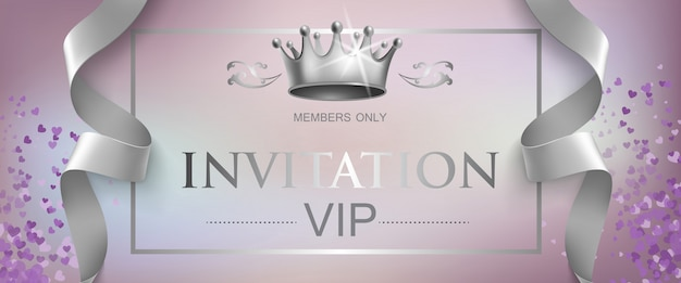 Vip invitation lettering with silver crown