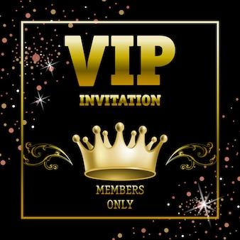 Vip invitation members only banner in golden frame