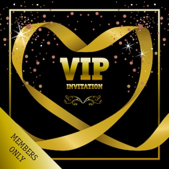 Vip invitation members only banner in heart-shaped ribbon