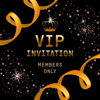 VIP invitation, members only lettering with golden crown