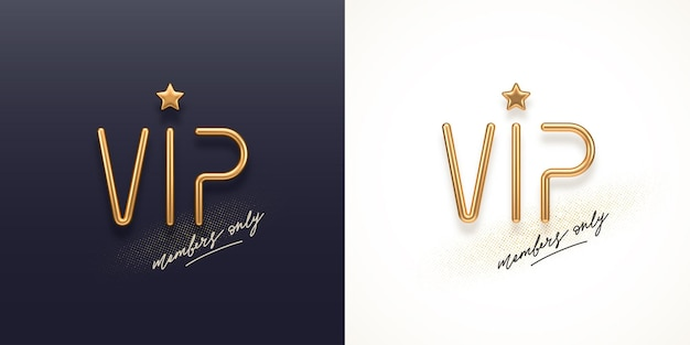 3dゴールデン文字ゴールデンメタルvipサインとvip招待状テンプレート