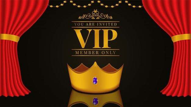 Vip invitation template with golden crown