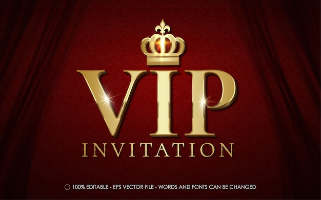 Vip invitation text with crown