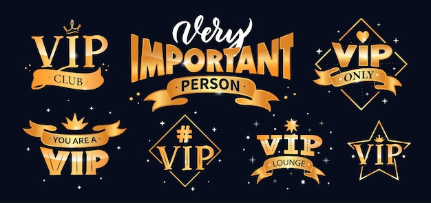 Vip lettering, logo collection. set of compositions in gold color for banners.
