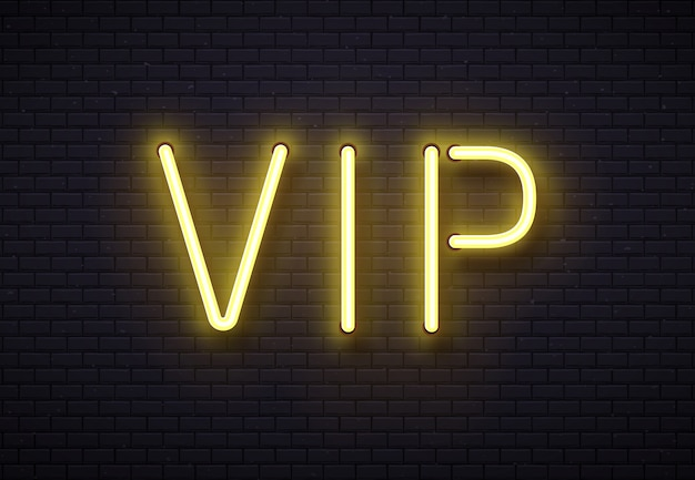 Vip neon sign. elegant premium members club, luxury banner with golden fluorescent neons tube lamps on brick wall vector illustration