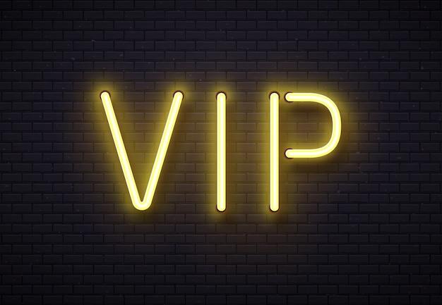Vipネオンサイン。エレガントなプレミアムメンバークラブ、レンガ壁のベクトル図に黄金の蛍光ネオン管ランプと豪華なバナー