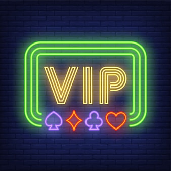 Vip neon text in frame with playing card suits