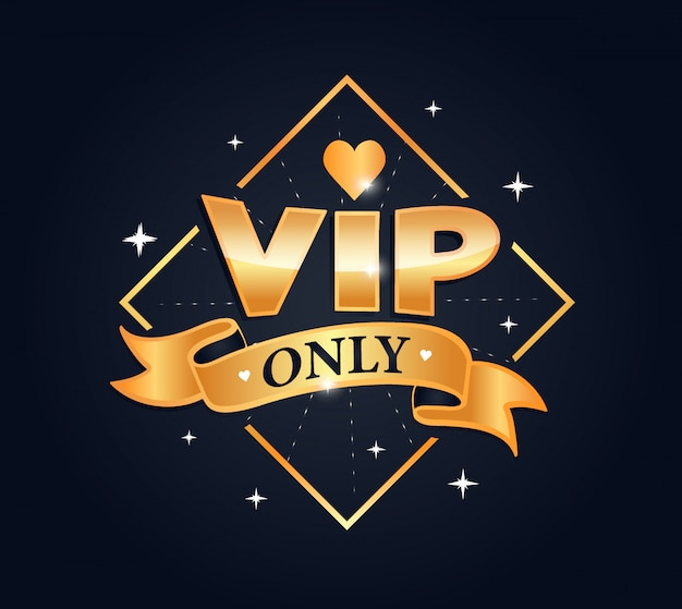 Vip only lettering phrase, logo stamp, sticker. creative composition in gold color