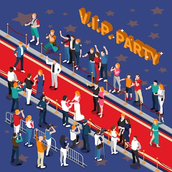 Illustrazione isometrica di vip party