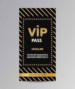 Vip pass with golden glittering stripes