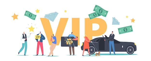 Vip persons lifestyle concept. luxury characters with gold cards premium service, woman with dog enter limousine, waiter carry star on tray poster banner flyer. cartoon people vector illustration
