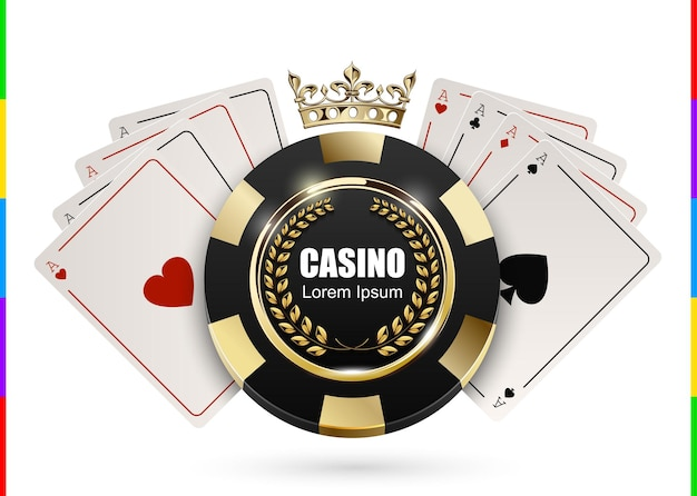 Vip poker luxury black and golden chip in golden crown with ace card  casino logo concept. royal poker club emblem with laurel wreath isolated on white background