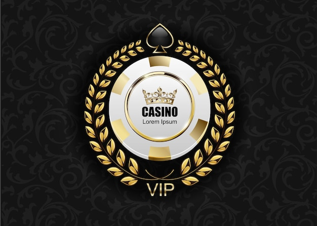 Vip poker luxury white and golden chip casino. royal poker club emblem with crown, laurel wreath and spade.