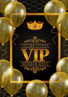 Vip poster with golden crown