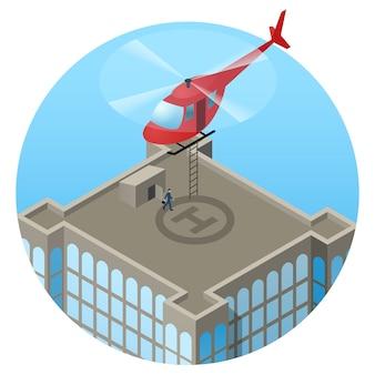 高層ビルの屋根に着陸するvip、赤いヘリコプター
