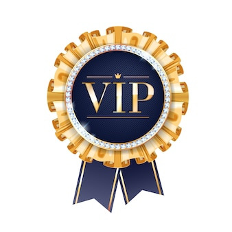 Vip  round badge with ribbons and diamonds. label with golden fringe and letters.