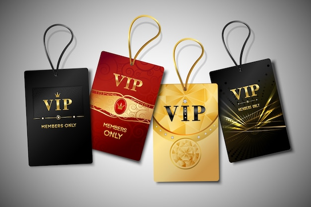 Vip tags design set