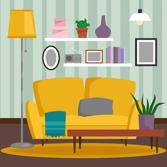 Комната дома винтажной внутренней мебели vip богатая богатая с иллюстрацией предпосылки кирпичной стены софы установленной.