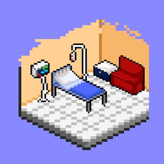 Vip ward room in hospital with pixel art style