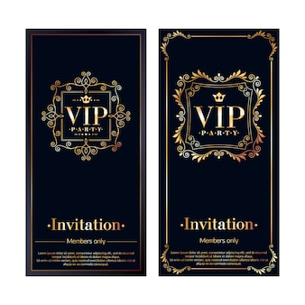 Vip zone members premium invitation cards. black and golden  template set. classic floral retro decorative vignettes design.