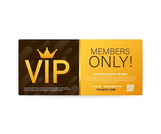 Vip клубные карты, только для членов золотая лента, этикетка.