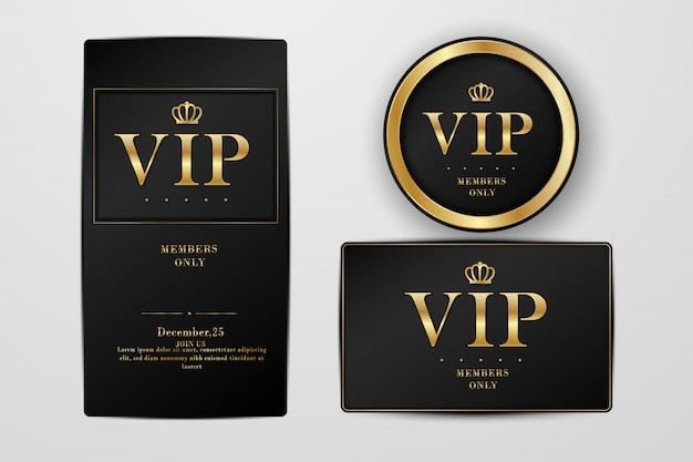 Vipパーティのプレミアム招待状とチラシ。黒と金のデザインテンプレートセット。