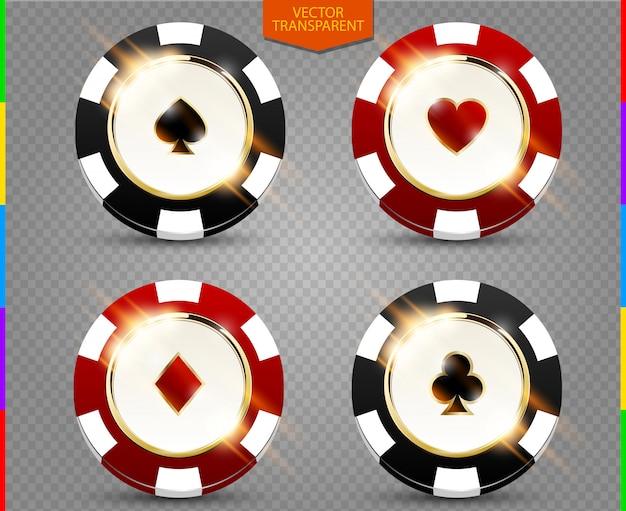 Vipポーカー黒と赤チップベクトルコレクション。