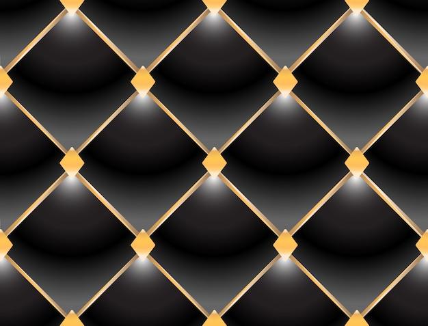 エレガントなキルティングパターンvip黒と金の背景