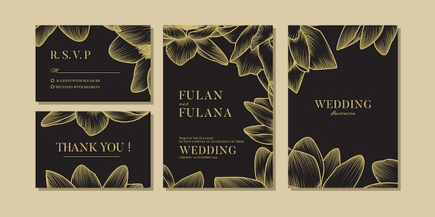 Набор свадебных приглашений vip цветочные и цветочные романтические любовь шаблон
