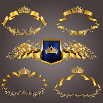 Набор золотых vip монограмм для графического дизайна. элегантная изящная рамка, лента, филигранная кайма, корона в винтажном стиле