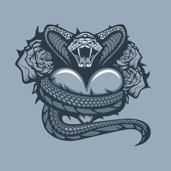 バラの背景にハートを包むバイパー。モノクロタトゥースタイル。