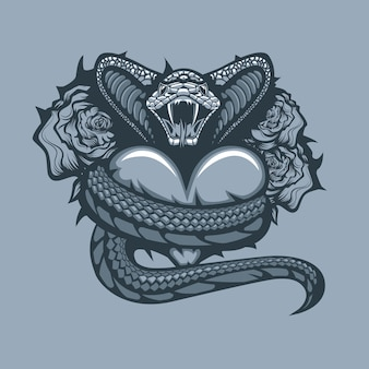 Viper enveloping heart on roses background. monochrome tattoo style.